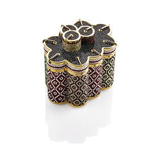 Judith leiber full bead multi crystal minaudiere candle design in multihued black silver and primary colors gold tone hardware chain leather interior with original mirror receipt box and dus