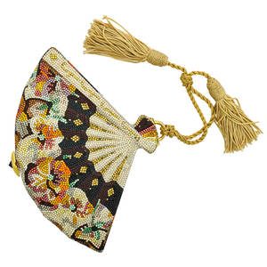Judith leiber full bead crystal fan minaudiere multihued crystals of black orange pink and gold colors in floral design black gem push clasp closure gold tone hardware chain silk tassel leathe