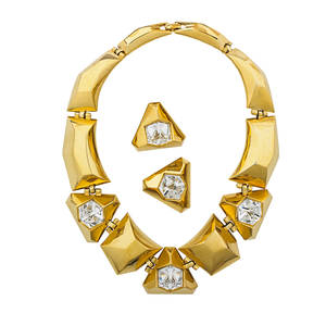 Givenchy parisnew york optic crystal parure geometric gilt metal necklace and clip earrings with faceted crystal cubes ca 1980 necklace 16 graduates 1 14  12 earrings 1 14