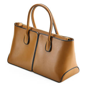Tods brown leather tote light brown leather with dark brown leather trim top handles zip closure fabric interior one zip closure compartment embossed tods 13 12 x 8 x 5 12 original du