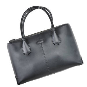 Tods black leather dbag top handles with zip closure fabric interior with multiple compartments with crossbody strap embossed tods 12 x 8 x 4 original dust bag