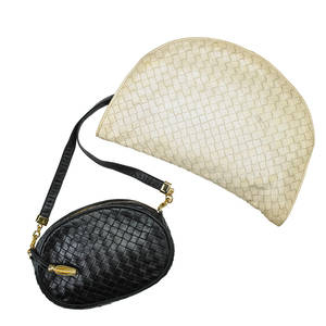 Two bottega veneta woven leather handbags signature woven kidskin suede interiors black cross body bag leather strap gold tone hardware creme leather clutch larger 11 12 x 8