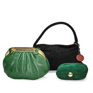 Three designer handbags judith leiber forest green skin minaudire with gold tone hardware lizard strap file interior with original pouch accessory mark cross forest green clutch with gold tone p