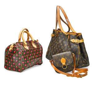 Collection of louis vuitton signature handbags three pieces murakami monogram cerises 25 bag with original lock key tag and booklet batignolles horizontal monogram shoulder bag with cinching buckl