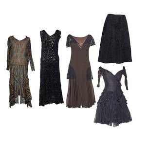 Elaborate evening dresses includes art deco five pieces givenchy persian lamb skirt with silk lining 33 at waist 50 at hem 26 length four dresses includes zandra rhodes gothic black ballerin