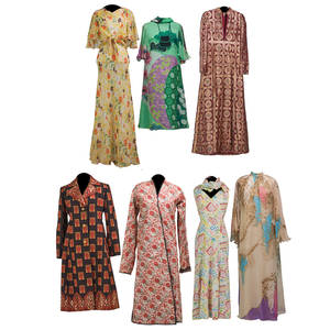 Collection of colorful printed designer garments four summer weight chiffons hanae mori green dress size 10 with purse retro yellow gown with shawl japanese wisteria motif taupe gown galanos sl