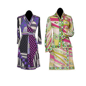 Emilio pucci dress skirt and matching top three quarter length sleeve dress in tone of purple grey and black wrap skirt and colorful blouse in tones of pink and green ca 1970 sizes 10 and 12