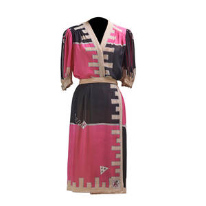 Emilio pucci two piece silk print skirt set wrap skirt and 34 sleeve blouse in black hot pink and beige ca 1990 size 8