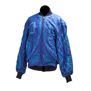 Hermes reversible quilted silk bomber jacket blue and teal print reverses to navy blue ca 1980 signed hermes paris at cuff label on pocket interior inseam 14