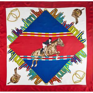 Four designer silk scarves two gucci equestrian hunterjumper themed designs one in original box salvatore ferragamo birds of paradise design chanel double c monogram design all 34 12 x 35