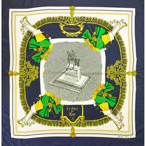 Hermes grott de versailles silk scarf blue and grey hugo grygkar ca 1954 34 12 x 35