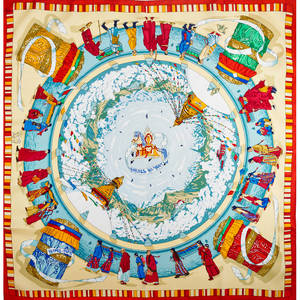 Hermes silk prieres du vent scarf blue and red by dimitri rybaltchenko 34 12 x 35 in original box with neiman marcus tag
