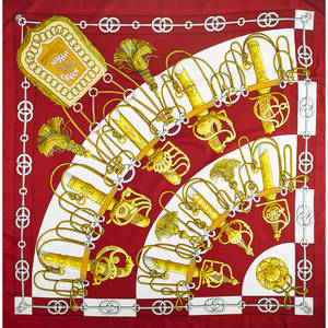 Hermes silk cliquetis scarf burgundy and gold by julia abadie 34 12 x 35