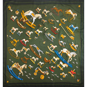 Hermes silk raconte moi le cheval scarf green and orange by dimitri rybaltchenko 34 12 x 35