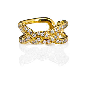Tiffany  co 18k diamond knot motif ring 18k yg and rbc diamonds approx 80 ct tw in open delicate design ca 2005 marked 18k tiffany  co size 5 28 dwt