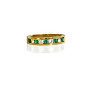 Tiffany  co diamond and emerald 18k gold band halfhoop channel of four rbc diamonds approx 25 ct tw five rbc emeralds 18k yg fourth quarter 20th c marked tiffany  co 750 israel size