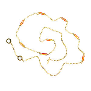 Roberto coin 18k yellow gold and shell neck chain oval links accented by bars of dyed oyster shell ca 2000 marked 18k italy 33 154 dwt