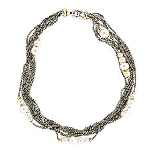 David yurman sterling  yellow gold pearl necklace torsade of eight sterling silver chains interspersed with white freshwater cultured pearls 18k yg findings accents ca 2005 stamped dy 750