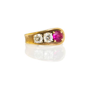 Ruby diamond and 14k yellow gold ring tapered strap with round faceted ruby approx 58 ct and two oec cut diamonds approx 46 and 42 ct second half 20th c marked 585 43 dwt