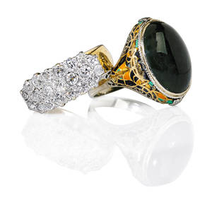 Two gold gem enamel or diamond rings white gold topped yellow gold omc diamond saddle ring approx 15 cts tw throughout enameled yellow gold egyptian revival style ring with oval onyx cabochon