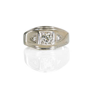 Gentlemans diamond 14k white gold ring substantial tapered design with central square set rbc diamond approx 70 ct flanked by two triangular set round diamonds approx 08 ct each ca 1960