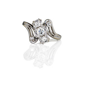 Diamond 14k white gold bypass ring diagonally set threestone cluster and pierced diamond set shoulders approx 55 ct tw ca 1955 size 8 12 26 dwt
