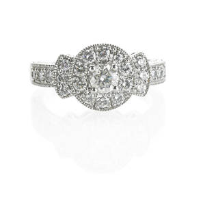 Rbc diamond 14k white gold engagement ring central rbc diamond approx 50 ct framed by rbc diamond halo and shoulders approx 3 ct tw ca 2010 size 7 44 dwt
