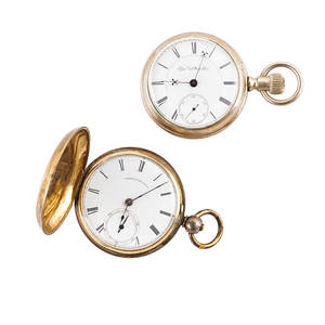 American watch co and elgin pocket watches american watch co pocket watch with hand painted porcelain dial roman numeral hours sub seconds dial key wound key set movement 320890 1866 in four