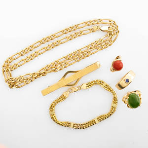Collection of yellow gold jewelry and accessories six pieces 14k italian curb link chain 21 12 14k fancy link bracelet simmons 10k money clip three 14k rings with sapphire jade and coral cabo