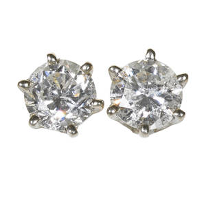 Diamond 14k white gold stud earrings two rbc diamonds approx 70 ct tw in sixprong settings 06 dwt