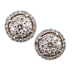 Diamond 14k white gold cluster earrings rbc diamonds approx 50 ct tw in 14k wg post backs for pierced ears ca 2010 17 dwt