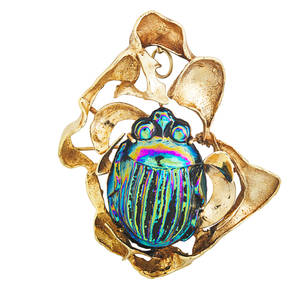 Freeform 14k gold glass scarab pendantbrooch iridescent glass scarab with textured gold hinged pendant bail ca 1970 marked 14k 2 34 x 2 14 204 dwt