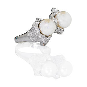 Cultured pearl and diamond 14k white gold ring two white cultured pearls in sinuous pave set diamond baskets on freeform base diamonds approx 11 cts tw throughout ca 2010 marked 585 14k size