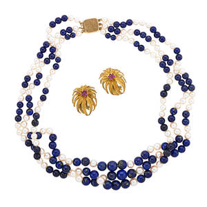 Lapis pearl necklace and gold ruby ear clips three strand graduated lapis and saltwater cultured pearl necklace with 14k yg clasp 16 12 italian 18k yg floral motif earrings with ruby cluster