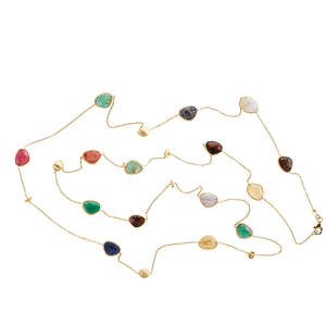 14k yellow gold and hardstone neck chain multicolored faceted hardstone stations bezel set and joined by yg chain accented by yellow gold brushed beads and rhondelles ca 2000 marked 14k italy