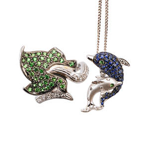 Whimsical multi gemset and white gold jewelry two pieces 18k figural leaf motif bypass ring with tsavorite garnets and diamonds size 6 14 14k dolphin pendant with sapphires diamonds and tsavori