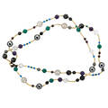 14k gold hardstone necklace 14k gold beads spherical and faceted gem beads include quartz hematite onyx garnet chrysoprase chalcedony 42