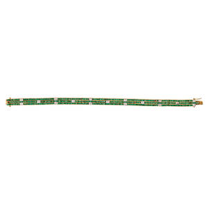 Emerald diamond 14k yellow gold strap bracelet links of channel set calibre cut emeralds and squareset diamond wg accents approx 30 ct tw ca 2000 marked 585 7 12 x 14 124 dwt