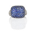 Diamond sapphire 18k white gold ring sapphire pave cushion shaped bombe diamond pave shoulders approx 75 ct tw ca 2010 size 6 12 64 dwt