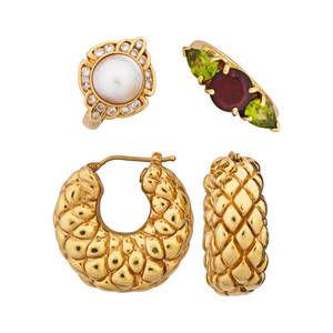 Tailored 18k and 14k yellow gold jewelry 18k gold quilted earrings threestone garnet and peridot ring size 7 14k gold mabe pearl and diamond ring size 6 12 late 20th century 111 dwt