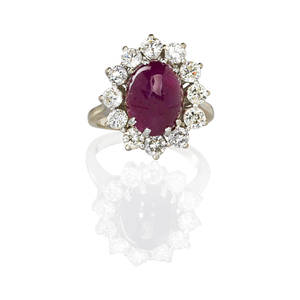 Ruby and diamond 14k white gold ring glass infused ruby cabochon approx 6 cts by formula surrounded by rbc diamond frame approx 168 cts tw in open 14k wg basket hoop ca 1990 size 5 34