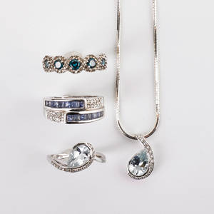 14k and 18k white gold diamond jewelry tanzanite and diamond 18k wg bypass ring size 8 14k gold treated blue and colorless diamond ring size 7 14k aquamarine and diamond pendant on sterling cha