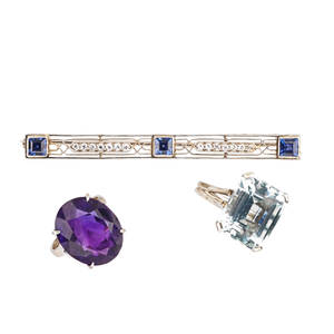 Group of gemset platinum or white gold jewelry three pieces art deco square cut sapphire and oec diamond platinum bar brooch diamonds approx 25 ct tw 2 34 x 316 step cut aquamarine 14k wg