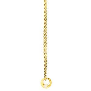 Minimalist 14k gold diamond necklace italy rbc diamond approx 33 ct flush mounted in asymmetric gold disk on 19 oval link chain marked 14k italy 48 dwt