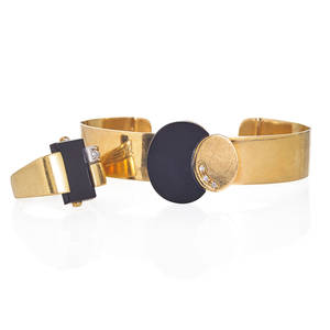 Onyx diamond 18k yellow gold ring and bracelet modernist open cuff bracelet with applied single cut diamond yg disc fit with carved onyx disc accommodates 6 12 retro ring with rectangular onyx