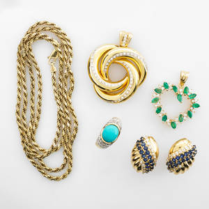 Collection of yellow gold gemset jewelry six pieces emerald and diamond 14k gold freeform heart pendant on gold plated sterling silver rope chain sapphire and diamond 14k gold earrings post bac
