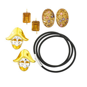 Collection of gold or gemset jewelry seven pieces five italian pieces including necklace and earring suite with tangled yellow gold wire and faceted pink and purple beads within wg palette marked