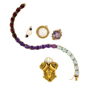 Collection of yellow gold gemset jewelry five pieces victorian yellow gold seed pearl taille depargne enameled brooch 14k multi gem set line bracelet with oval faceted garnets amethysts and aqu