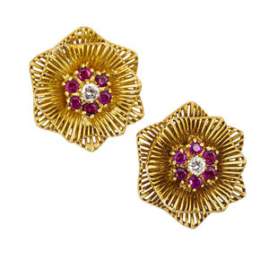 Kutchinsky 18k gold ruby and diamond earrings cast and built yg radiating flower heads with ruby and diamond centers diamonds approx 38 ct tw clip backs for unpierced ears london 1957 english