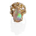 Opal diamond 14k yellow gold artisanal ring pear shaped opal doublet among rbc diamonds and yellow gold bramble diamonds approx 50 ct tw throughout marked 14k size 7 12 77 dwt